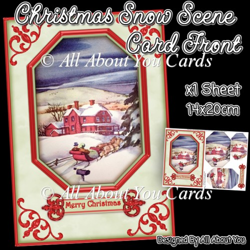Christmas Snow Scene Card Front - Click Image to Close