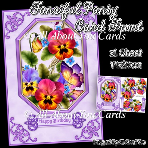 Fanciful Pansy Pyramage Card Front - Click Image to Close