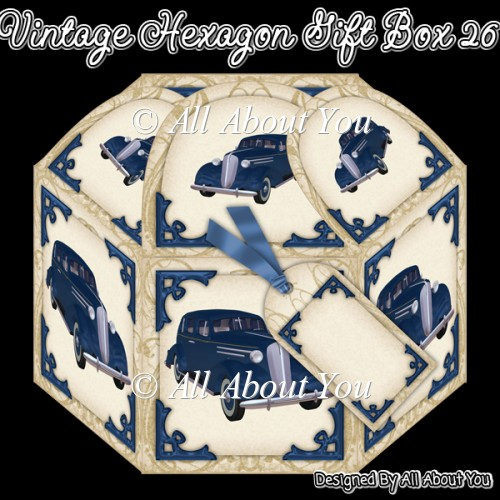 Vintage Car Hexagon Gift Box 26 - Click Image to Close