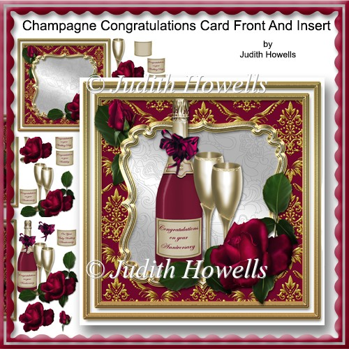 Champagne Congratulations Card Front And Insert - Click Image to Close