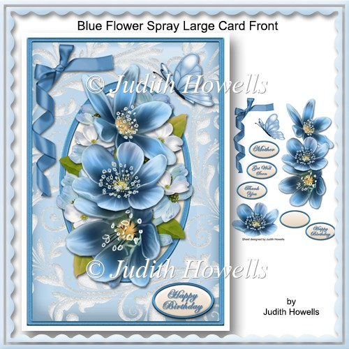Blue Flower Spray Large Card Front - Click Image to Close