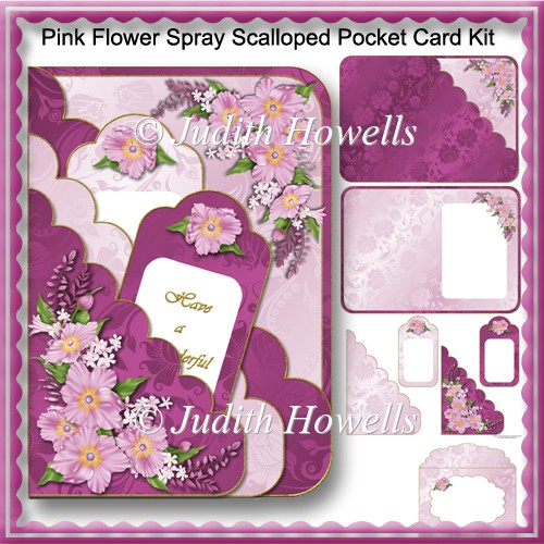 Pink Flower Spray Scalloped Pocket Card Kit - Click Image to Close