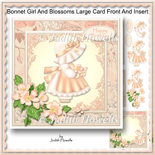Bonnet Girl And Blossoms Large Card Front And Insert - Click Image to Close