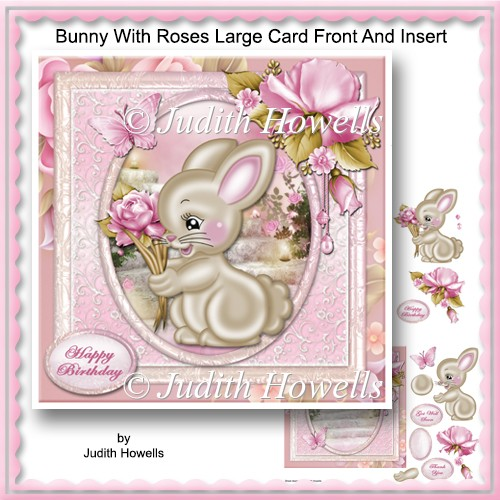 Bunny With Roses Large Card Front And Insert - Click Image to Close