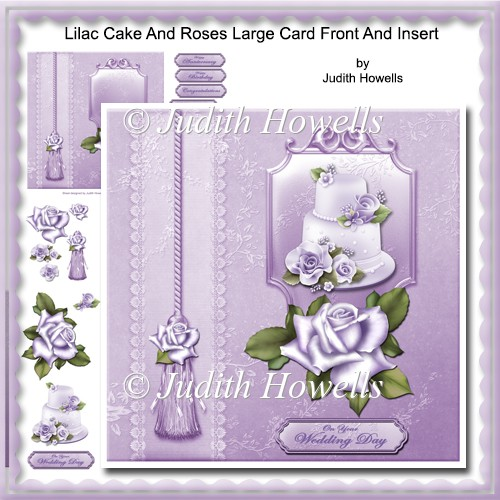 Lilac Cake And Roses Large Card Front And Insert - Click Image to Close