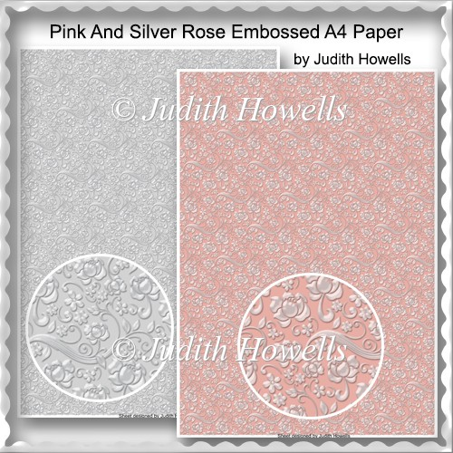 Pink And Silver Rose Embossed A4 Paper - Click Image to Close