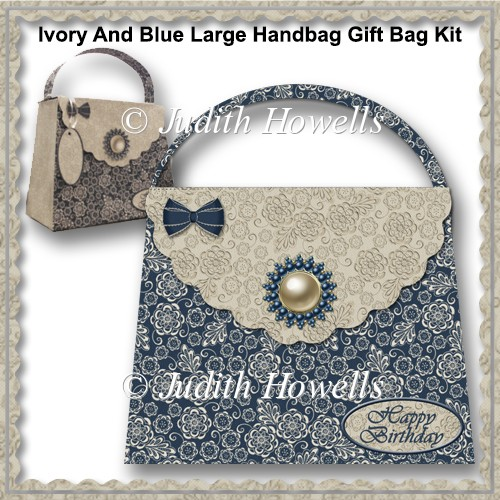 Ivory And Blue Large Handbag Gift Bag Kit - Click Image to Close