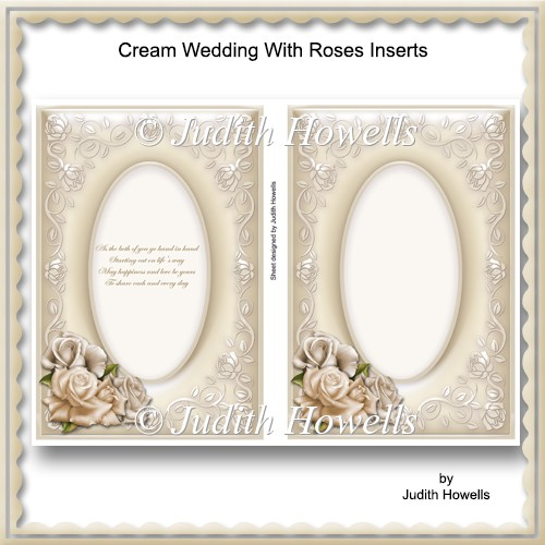 Cream Wedding With Roses Inserts - Click Image to Close