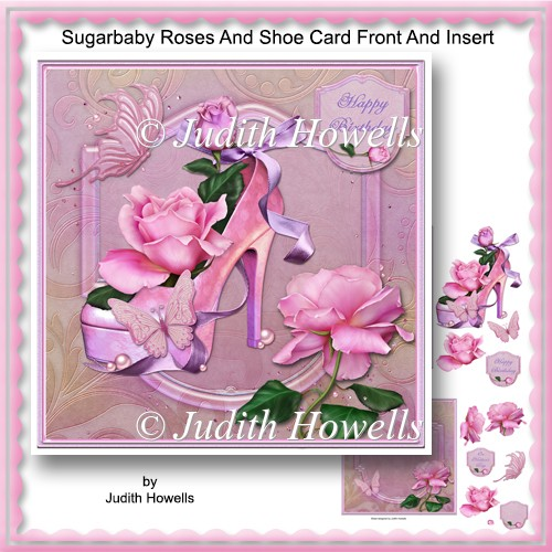 Sugarbaby Roses And Shoe Card Front And Insert - Click Image to Close