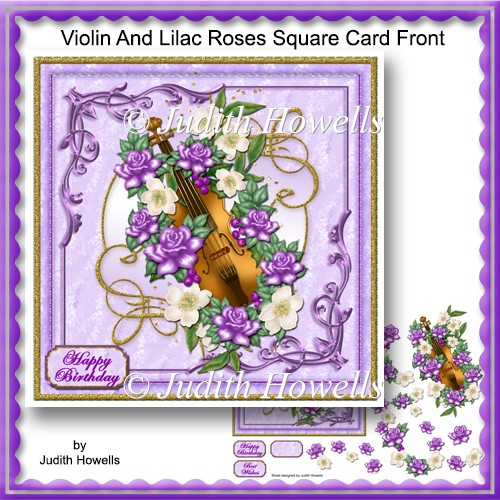 Violin And Lilac Roses Square Card Front - Click Image to Close