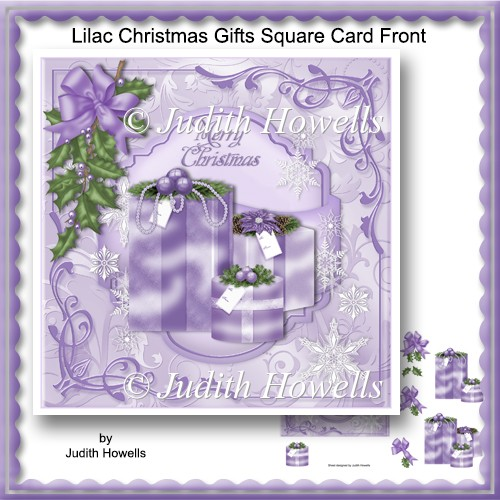 Lilac Christmas Gifts Square Card Front - Click Image to Close