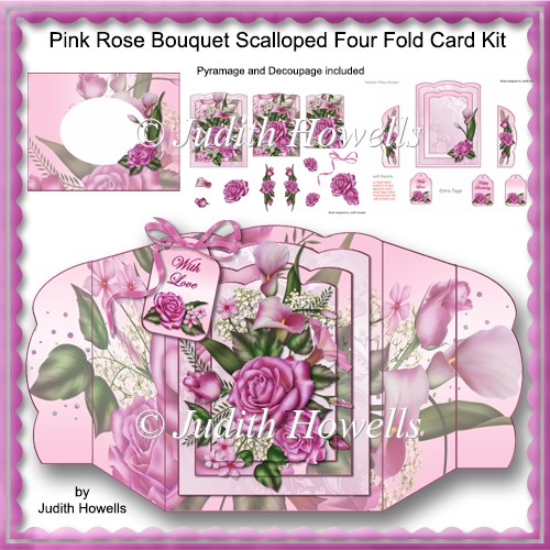 Pink Rose Bouquet Scalloped Four Fold Card Kit - Click Image to Close