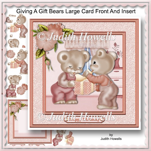 Giving A Gift Bears Large Card Front And Insert - Click Image to Close