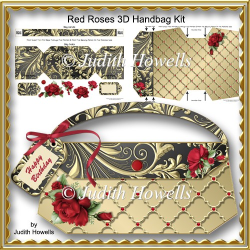 Red Roses 3D Handbag Kit - Click Image to Close