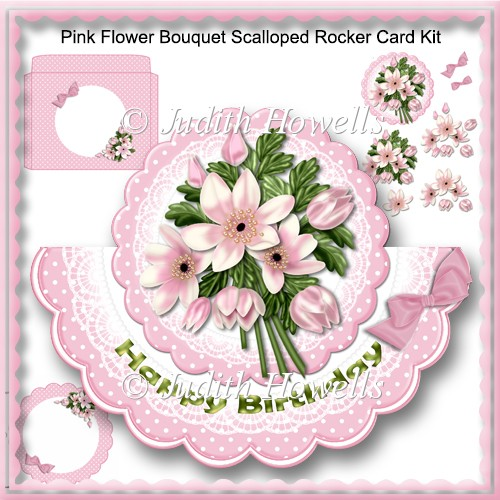 Pink Flower Bouquet Scalloped Rocker Card Kit - Click Image to Close