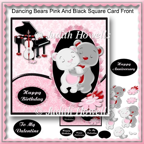 Dancing Bears Pink And Black Square Card Front - Click Image to Close