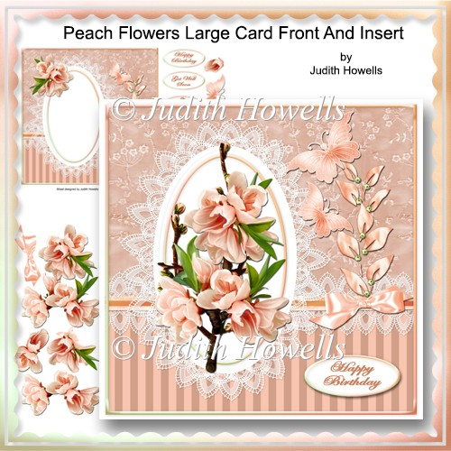 Peach Flowers Large Card Front And Insert - Click Image to Close