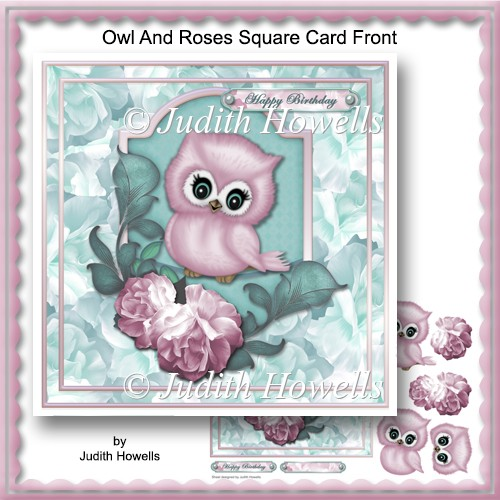 Owl And Roses Square Card Front - Click Image to Close