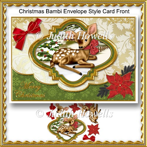 Christmas Bambi Envelope Style Card Front - Click Image to Close