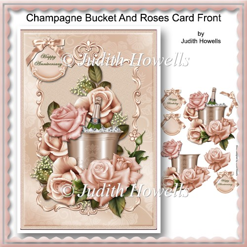 Champagne Bucket And Roses Card Front - Click Image to Close