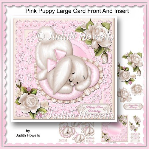 Pink Puppy Large Card Front And Insert - Click Image to Close