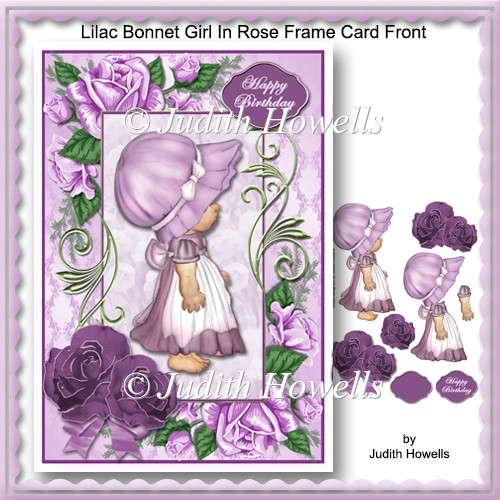 Lilac Bonnet Girl In Rose Frame Card Front - Click Image to Close