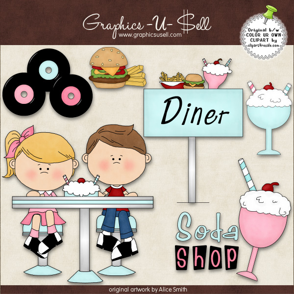 50s Diner 1 ClipArt Graphic Collection - £0.67 ...