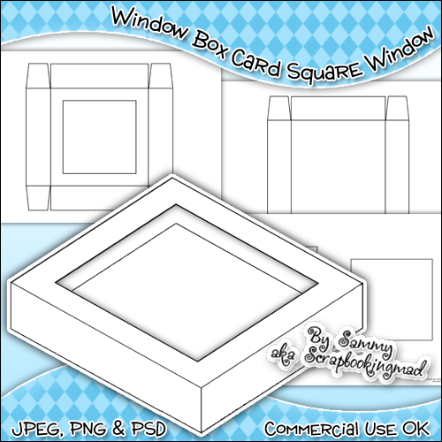 Window Box Card Square Window Template Commercial Use OK - Click Image to Close