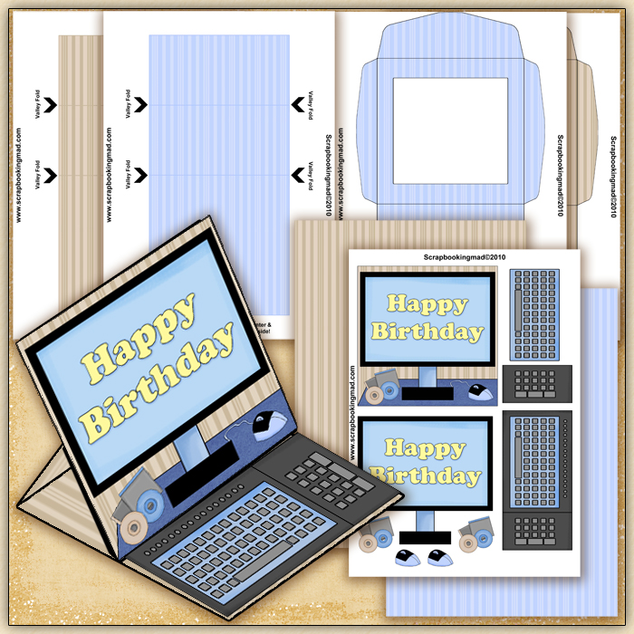 blue happy birthday computer pdf easel card download