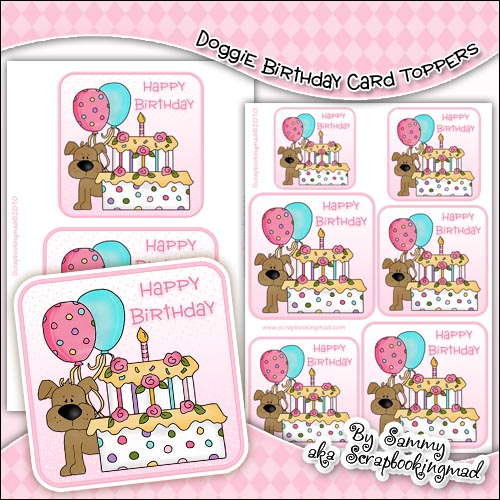 Doggie Birthday Single Layer Card Toppers - Click Image to Close